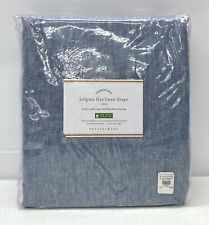"NEW Pottery Barn Classic Belgian Flax Linen 50x96"" BLACKOUT Drape~Blue Chambray"