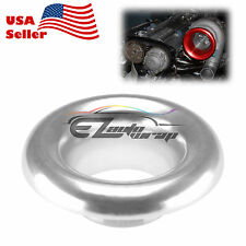 "3.5"" Silver Short Ram Cold Air Intake Turbo Horn Aluminum Velocity Stack Adapter"