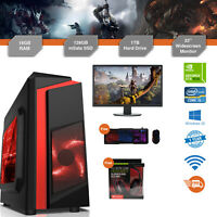 Gaming PC Bundle Intel Core i5 3.1GHz Win10 GTX1650 16GB RAM 128GB SSD 1TB Cheap