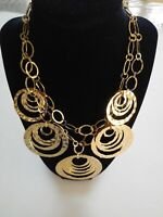 Chico's Ladies 2 Strand Goldtone Statement Necklace Hoops Circles