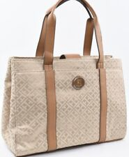 TOMMY HILFIGER Monogram Fabric City Tote Bag, Handbag, Beige/Tan
