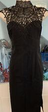 Kardashian Kollection by Lipsy Black Lace Bodycon Dress Size 12