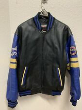 Vintage Polaris Men's L Leather Jacket Black Blue Coat Snowmobile Bomber