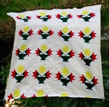 """FULL/QN HANDMADE FINISHED QUILT-TULIPS IN BASKETS-98"""" x 76""""-NEW CONDITION-"""