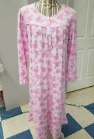 EARTH ANGELS Pink With Flowers Nightgown  - Size Medium - 100% Polyester SO SOFT