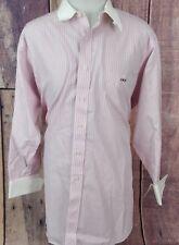 Paul Fredrick Cotton Dress Shirt White Collar/French Cuffs 17-32