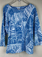 Ruby Rd. Womens 2X Turquoise Blue & White Print Stretch Knit Top Boat Neck