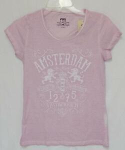 "New FOX Women's ""Amsterdam The Netherlands"" Light Purple Graphic T-Shirt Small"