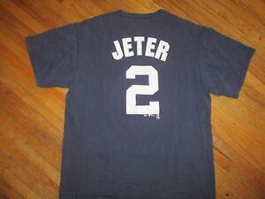 DEREK JETER NEW YORK YANKEES 2 JERSEY T SHIRT Baseball MLB vtg Majestic Adult LG
