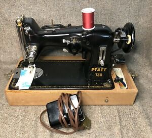 VINTAGE 1951 PFAFF 130 SEWING MACHINE WITH FOOT PEDAL CASE GERMANY WORKS
