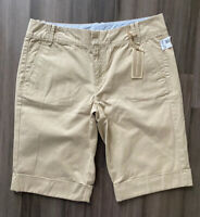 TOMMY HILFIGER NWT Women's Beige Cuffed 100% Cotton Khaki Shorts-Size 8