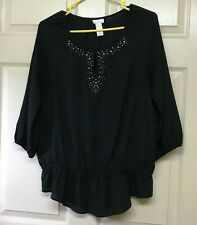 CHICO's Black 3/4 Sleeve Polyester Top Blouse Size 1 Keyhole Nail Head Accent