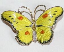 ANTIQUE ART DECO SILVER GOLD PL. ENAMELED YELLOW BUTTERFLY FINE HAND MADE BROOCH