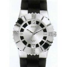 New Authentic GUESS  I80332L1 Women Swarovski Crystal Black Silicon Strap Watch