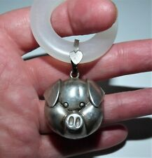 ANTIQUE EDWARDIAN SILVER BABY RATTLE TEETHER PIGGY FACE PORKY PIG STERLING