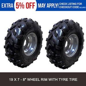 2x 19 X 7 - 8 Inch Wheels Tyre Rim 125/150/200/250CC Quad Bike ATV Buggy Go Kart