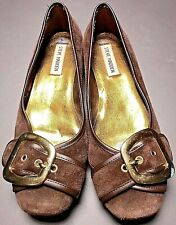 Steve Madden Brown Suede Gold Metal Buckle Ballet Flats Loafers Shoes Size 8 M