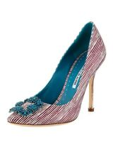 New Manolo Blahnik Hangisi Raspberry Striped 105mm Pump Size 39.5EU/9US $1065.00