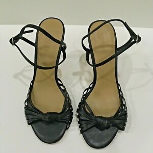 Witchery Strappy Heels Black Open Toe Size 7 EU 38 Knot Accent