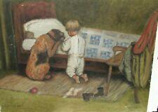 "N.K. ALSTRAND ""THE ORPHAN BOY"" OIL ON BOARD FOLK DOG PAINTING"