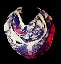 B120 Linen Texture Big Red Blue Purple Beige Heart Ombre Infinity Scarf