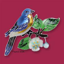 Zarah Zarlite BLUEBIRD and Dogwood PIN Silver Plated Enamel Brooch Bird - Boxed