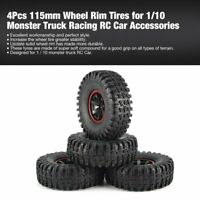 4Pcs 115mm Wheel Rim Tires for 1/10 Monster Truck Racing RC Car Accessories