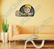 "Construction Handy Man Hard Hat Ruler Wall Sticker Room Interior Decor 25""X18"""