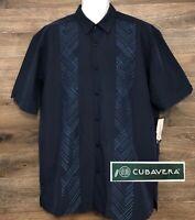 NWT Cubavera Men's Navy Blue Embroidered Design Short Sleeve Button Shirt NEW L
