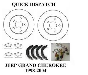 JEEP GRAND CHEROKEE WJ WG REAR BRAKE DISCS PADS HANDBRAKE SHOES + FITTING KIT