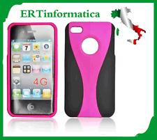 CUSTODIA RIGIDA PER IPHONE 4 4G 4S COLORE FUCSIA E NERO