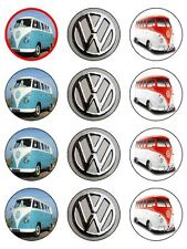 "12 x VW Campervan 2""PRE-CUT PREMIUM RICE PAPER Edible CupCake / Cake Toppers"