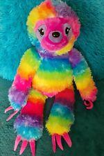Build A Bear Rainbow Sloth Plush 18 Inch Paws Stick Together Tye Dye BABW 2018