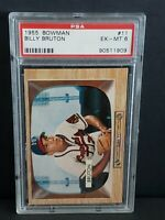 1955 Bowman Billy Bruton #11 EX-MT PSA 6 Milwaukee Braves