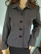 Ladies Wallis Blazer Jacket Coat Pin Stripe Black Grey Size 10/12
