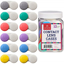 Contact Lens Cases, 12 Pack � Assorted Separate Colors for Left/Right Eyes � -