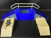 "Tech Deck Fingerboard Skate Park Blue Ramps w/ Rail ""Snake Grind"""