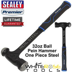 Sealey Ball Pein Hammer 32oz 900g One Piece Steel Head Shaft Premier Rubber Grip
