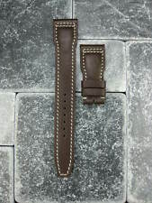 New 22mm Brown CALF Leather Strap Deployment Watch Band IWC BIG PILOT Beige x1