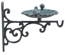 "Plant Hanger Bird Bath Feeder Verdigris Color Yard Garden Decor Cast Iron 10.25"""