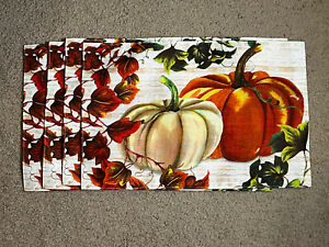 Lot Of 4 Place Mats Home Collection Fall Harvest Autumn 12 x 18 in W/ Pumpkins