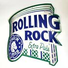 """Rolling Rock Extra Pale Ale Tin Tacker Metal Sign 21"""" x 23"""" Beer Sign Man Cave"""