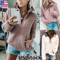 Womens Warm Fleece Fluffy Sweatshirt Tops Coat Zipper Sweater Pullover Jumper US
