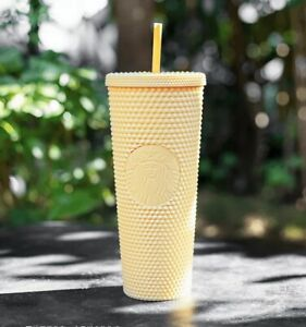 New Starbucks 2021 China Butter Yellow Matte Studded 24oz Cup Tumbler