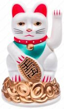 Battery Operated Feng Shui Lucky Cat Sitting On Top A Gold Bar with Waving Arm,