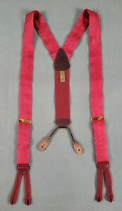 Trafalgar Red Geometric Print Mens Suspenders (Flaw)