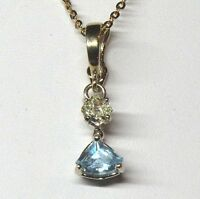 0.54 ct Fancy Intense Yellow Color Diamond & 1.01 ct Lt Blue Topaz pendant GIA