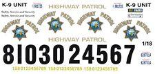 California Highway Patrol 1/18th Scale Waterslide Decals Police