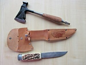 N.O.S. 70's vintage Souvenir HUNTING KNIFE & HATCHET LUXEMBOURG made in SOLINGEN