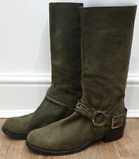CHRISTIAN DIOR Olive Green Suede Calf Height Buckle Stirrup Casual Boots 40 UK7